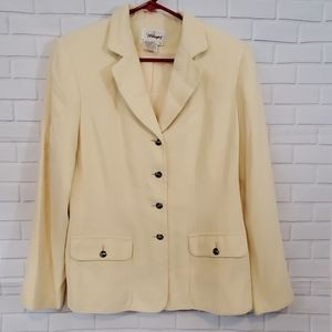Worthington blazer pale yellow with gold buttons